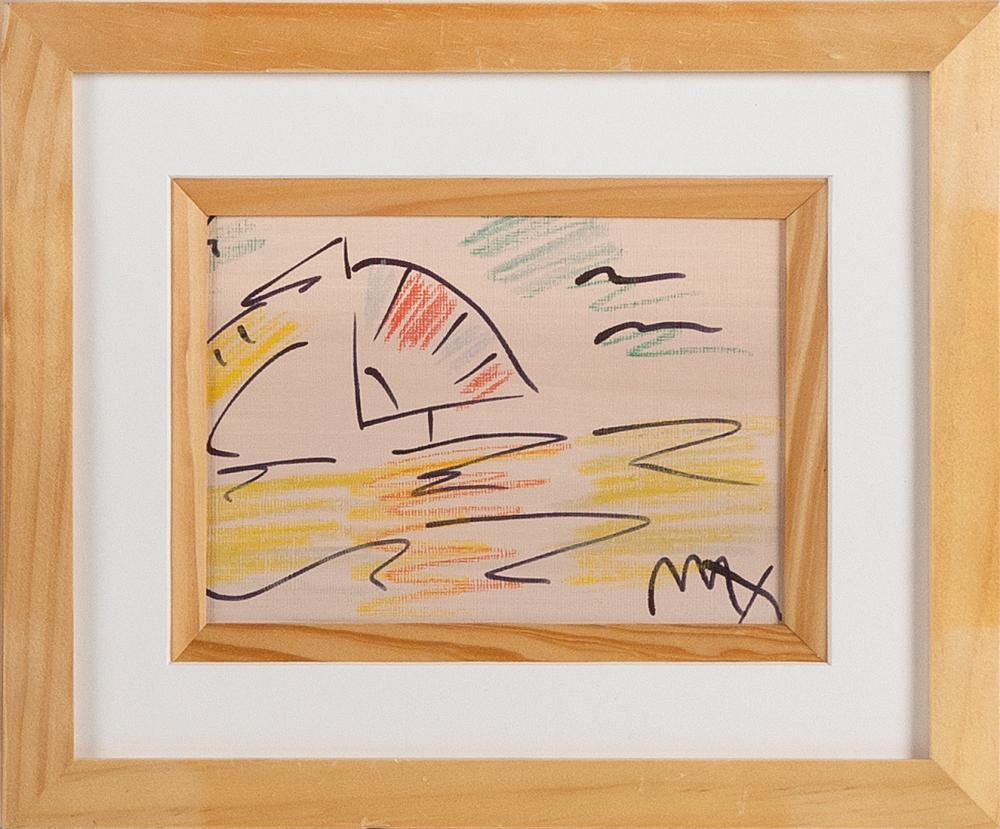 """PETER (FINKELSTEIN) MAX (New York/Germany, b. 1937), """"Ocean Sail""""., Pen and pastel on paper, 4.375"""" x 6.375"""". Framed 9.125"""" x 11.125""""."""