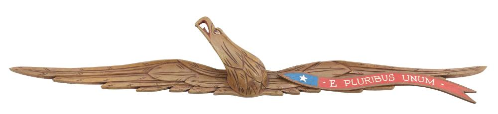 """BELLAMY-STYLE CARVED WOODEN SPREAD-WING EAGLE PLAQUE America, Early 20th Century Height 6.75"""". Width 44.5""""."""
