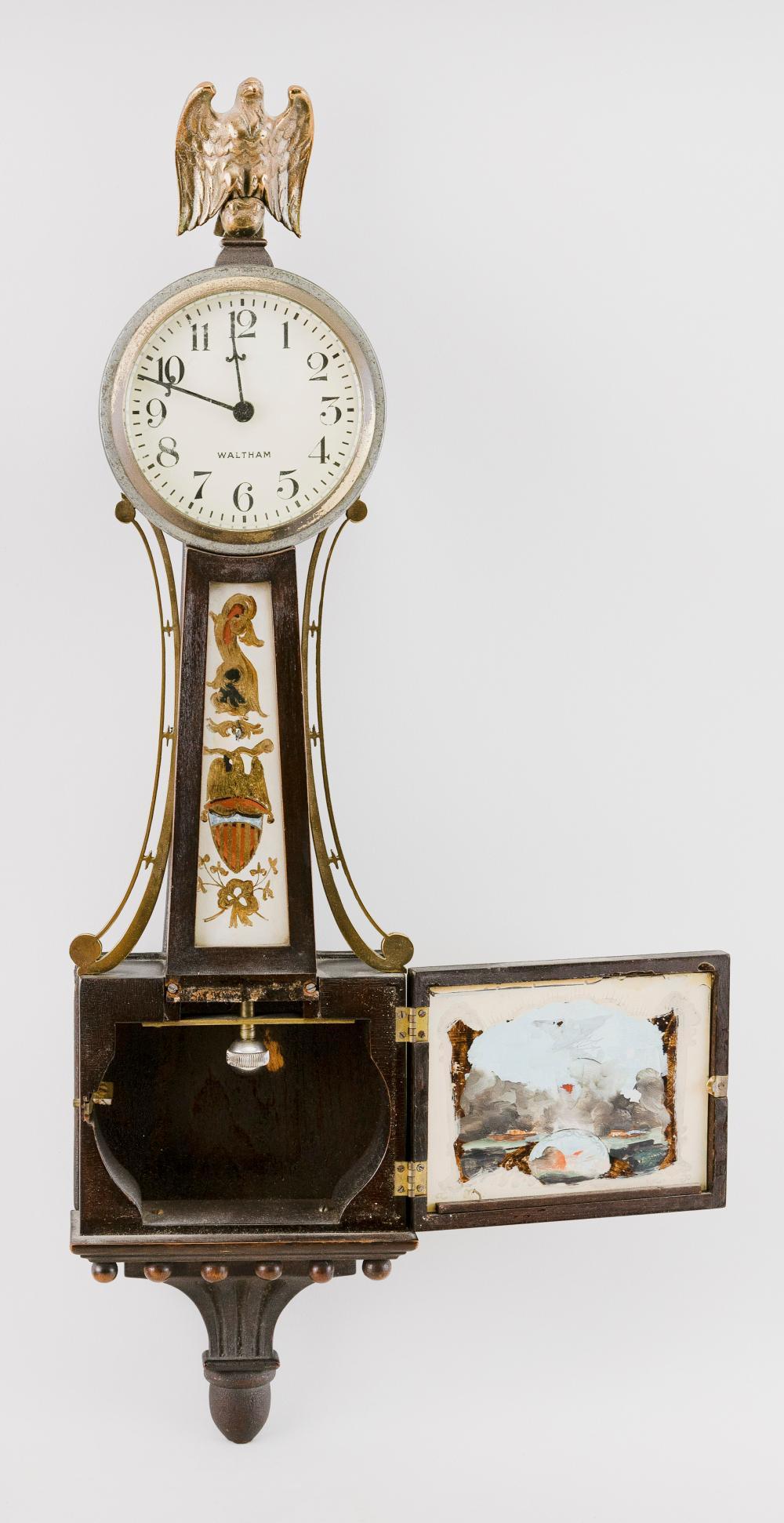 WALTHAM BANJO CLOCK 20th Century Height 21