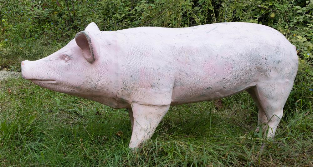 """LIFE-SIZE PINK ALUMINUM PIG Mid- to Late 20th Century Height 28"""". Length 61"""". Width 18""""."""