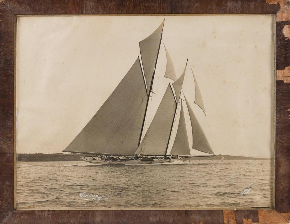 """VINTAGE YACHTING PHOTOGRAPH BY BEKEN & SON, COWES 1910 On paper, 18"""" x 24"""" sight. Framed 21"""" x 27""""."""