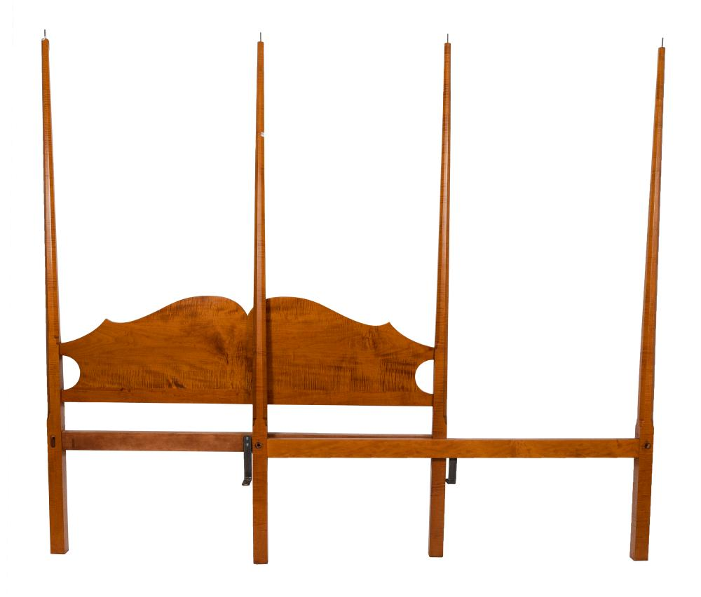 """ELDRED WHEELER CURLY MAPLE QUEEN-SIZE BED Massachusetts, Late 20th Century Post heights 81"""". Width 64""""."""