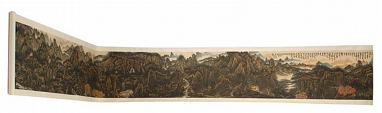 HAND SCROLL ON PAPER By Huang Qiuyuan (1914-1979). Depicting cottages and river in a mountain landscape setting. Marked with multipl...