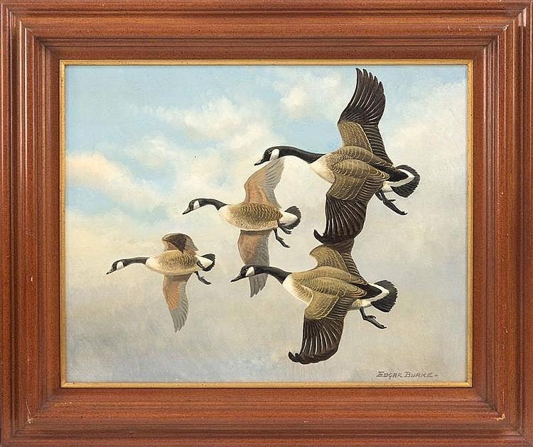 EDGAR BURKE, American, 1889-1950, Geese in flight., Oil on board, 16