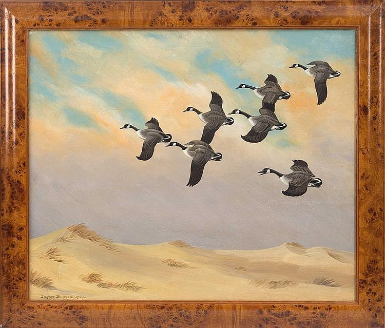 EDGAR BURKE, American, 1889-1950, Geese flying over the dunes., Oil on board, 20