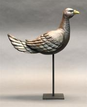 CARVED WOODEN LIFE-SIZE PIGEON By William Feasal. Ornately carved feather detail.