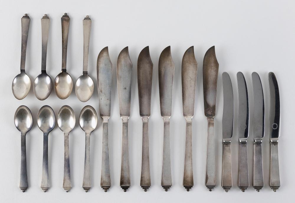 """EIGHTEEN PIECES OF GEORG JENSEN """"PYRAMID"""" STERLING SILVER FLATWARE Denmark, 1933-35 Approx. 17.6 troy oz. weighable"""