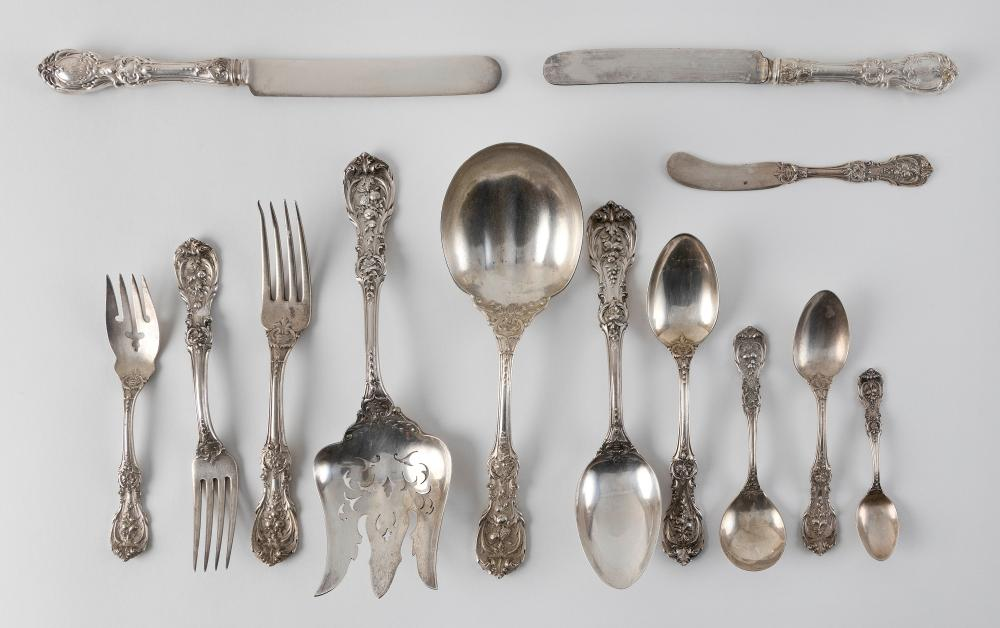 """REED & BARTON """"FRANCIS I"""" STERLING SILVER FLATWARE SERVICE Taunton, Massachusetts, Early 20th Century Approx. 90.4 troy oz. weighable"""