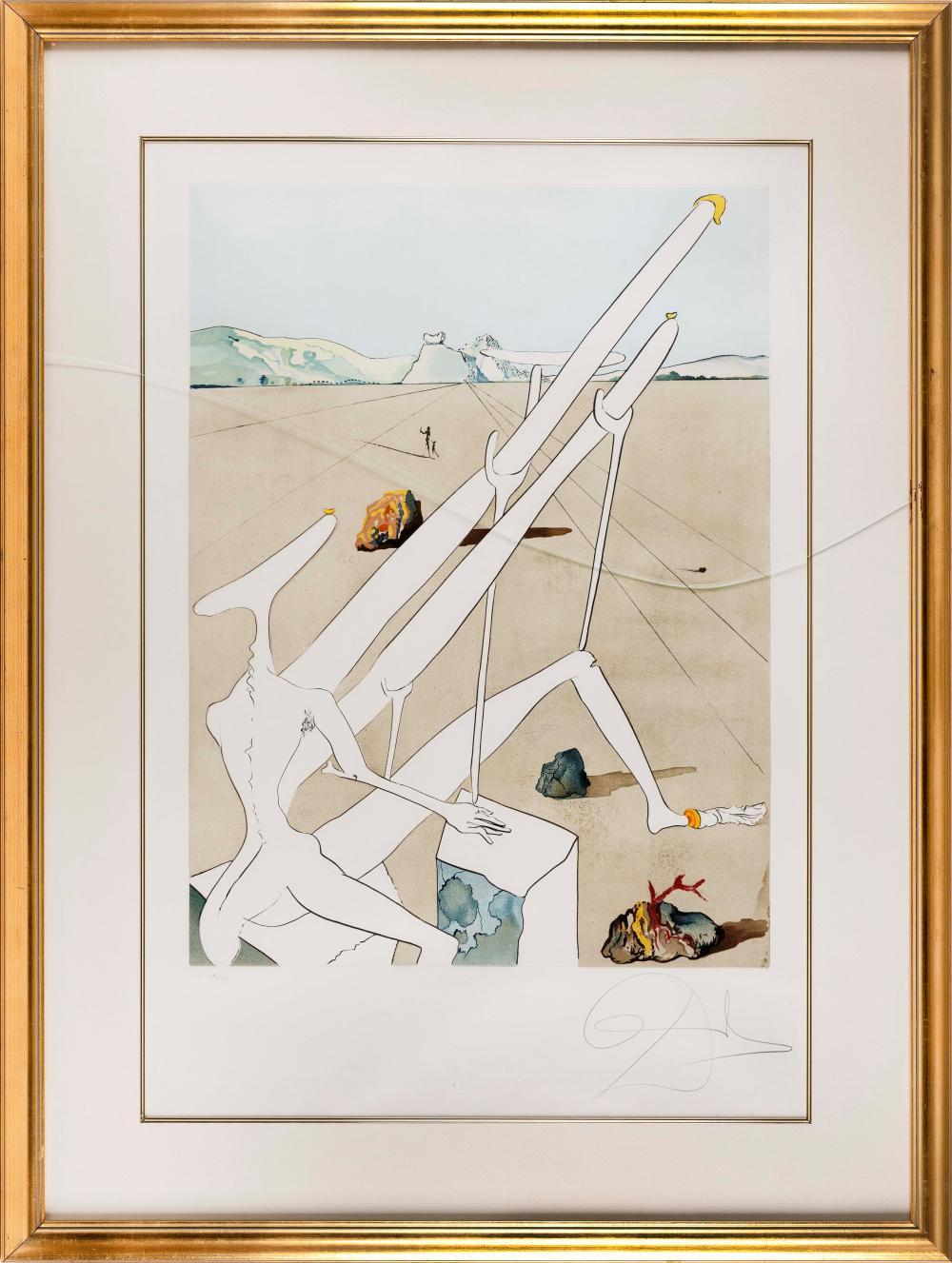 "SALVADOR DALI (France/Spain, 1904-1989), Surrealist composition., Lithograph, 37"" x 25"" sight. Framed 48"" x 36""."