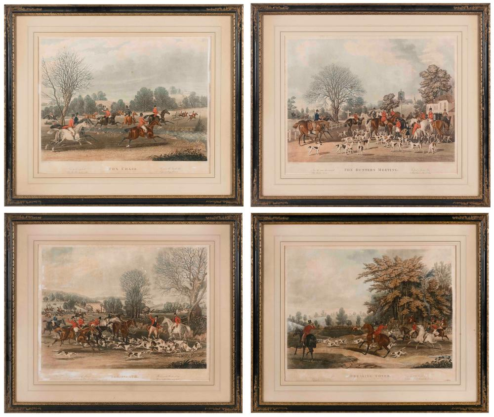 """FOUR ENGLISH HAND-COLORED ENGRAVINGS DEPICTING A FOX HUNT 17.75"""" x 22.75"""" sight. Framed 26.5"""" x 31.5""""."""
