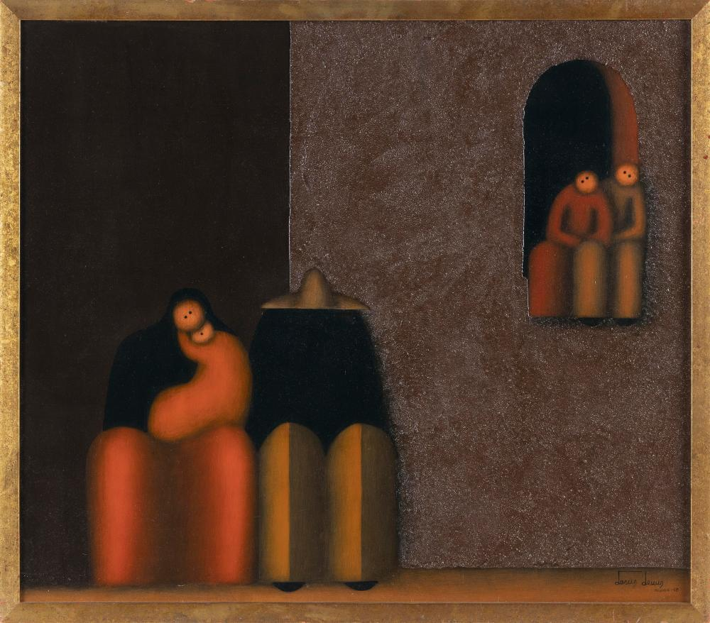 """JESUS MARIANO LEUUS (Texas/Mexico, Contemporary), Figures on a bench and seated in a window., Oil on board, 21.5"""" x 24.5"""". Framed 22.25"""" x 25.75""""."""