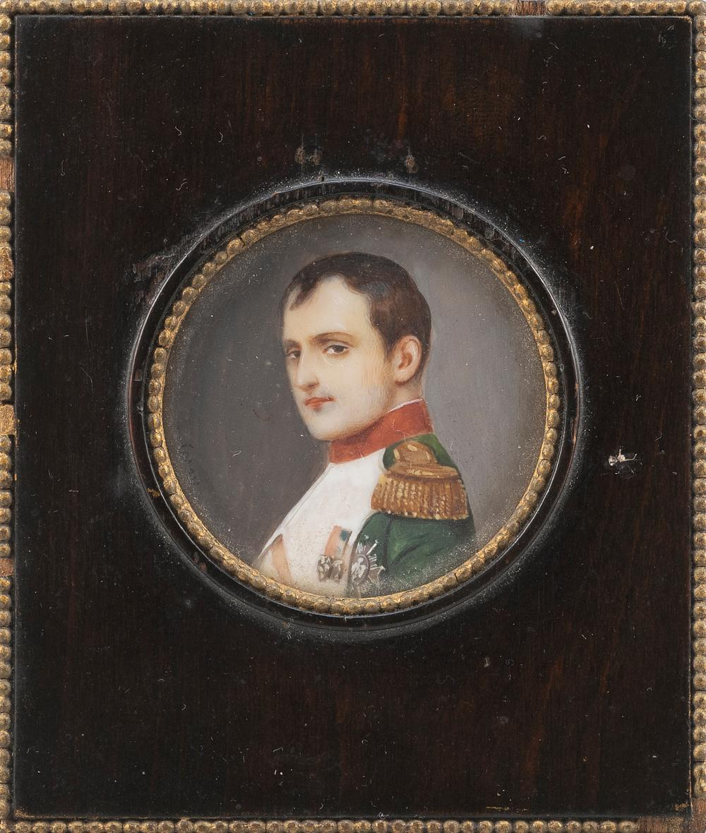 """FRENCH SCHOOL (Early 19th Century,), Miniature oval portrait of Napoleon Bonaparte in his Chausser's uniform., Oil on veneer, 1.75"""" diameter sight. Framed 4"""" x 3.5""""."""