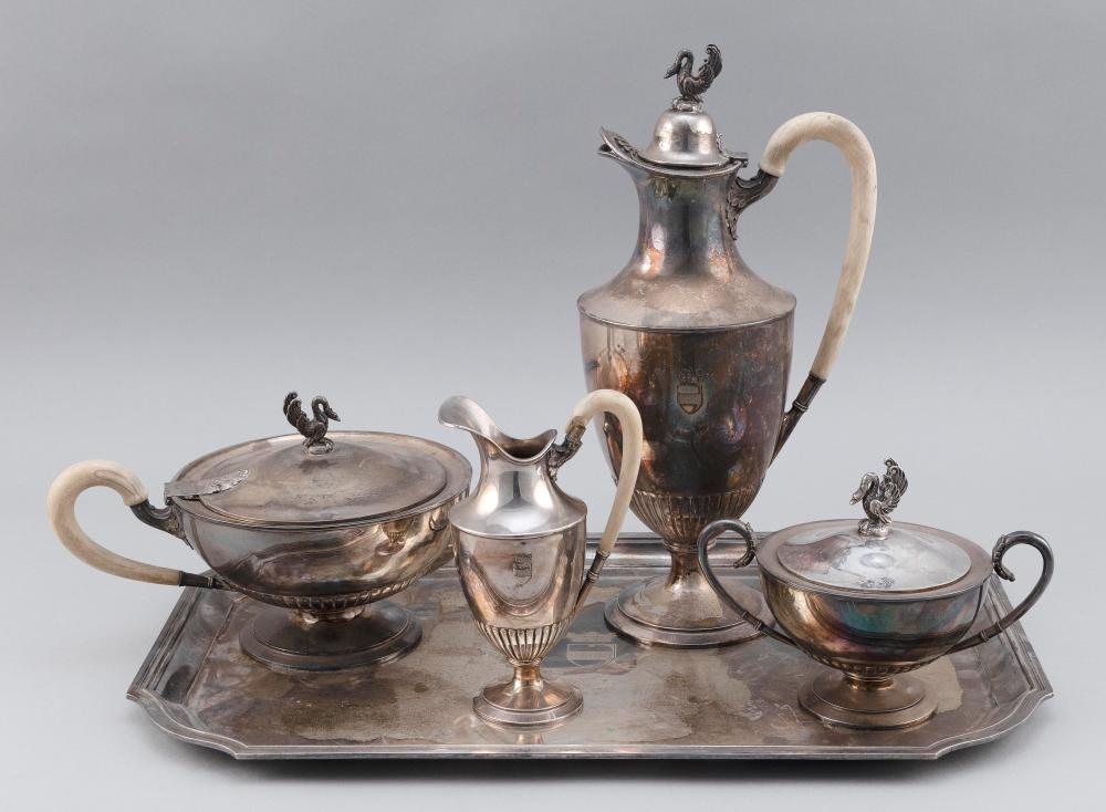 CONTINENTAL .835 SILVER FIVE-PIECE TEA AND COFFEE SERVICE Probably Belgium, Circa 1920 Approx. 127.7 troy oz.