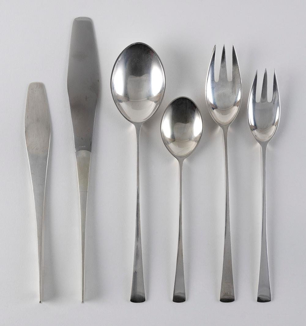 """JENS QUISTGAARD FOR DANSK """"TJORN"""" STERLING SILVER FLATWARE SERVICE Denmark, Second Half of the 20th Century Approx. 63.9 troy oz. weighable"""