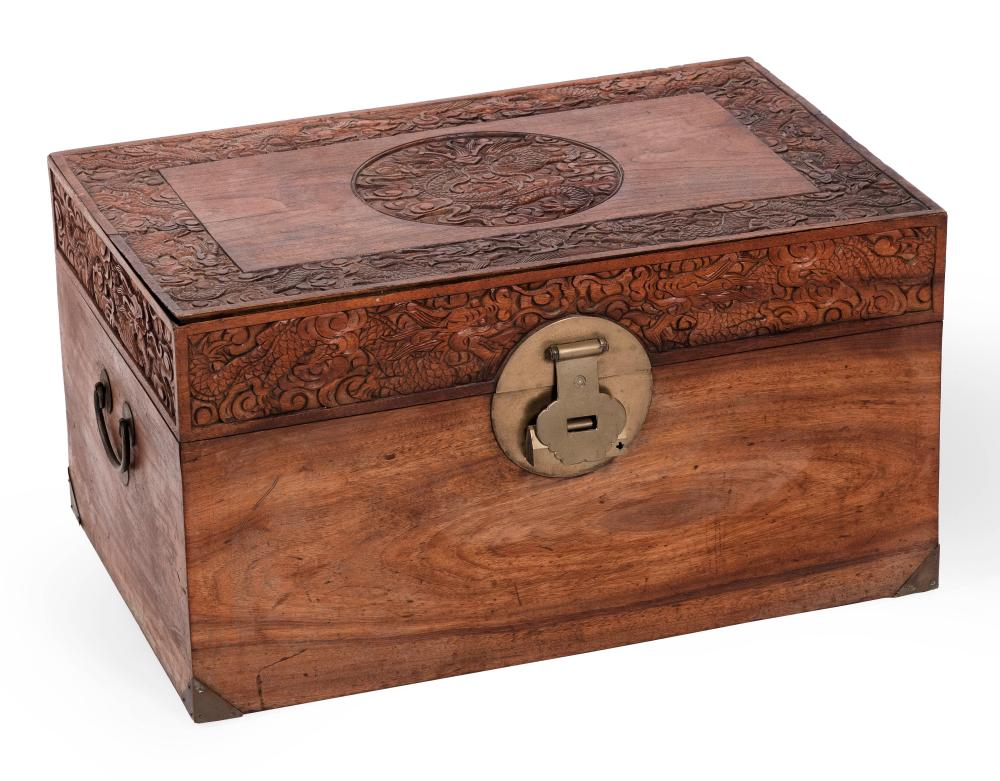 """CHINESE CARVED CAMPHORWOOD CHEST 20th Century Height 14"""". Width 26"""". Depth 16.75""""."""