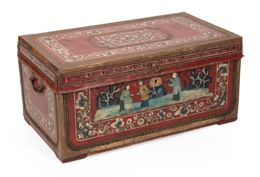 """CHINESE EXPORT CAMPHORWOOD CHEST First Half of the 19th Century Height 17"""". Width 35"""". Depth 19.5""""."""