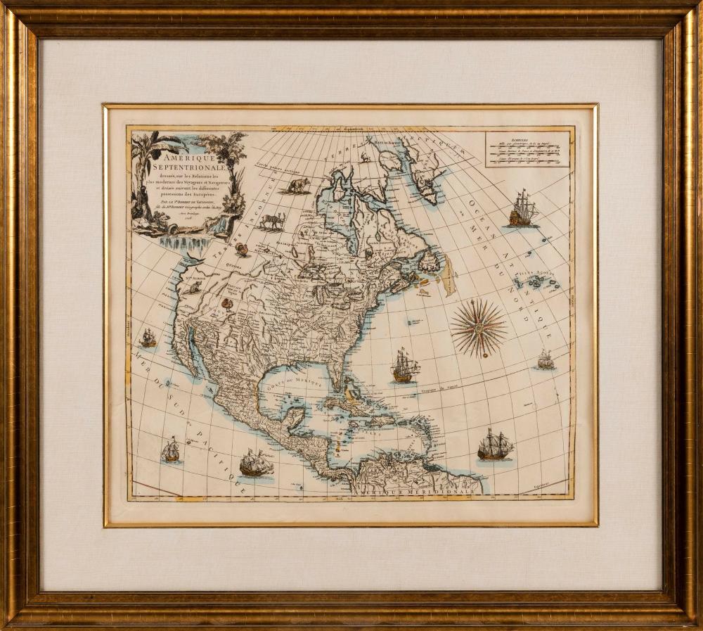 """ROBERT DE VAUGONDY (France, 1688-1766), Map of North America """"Amerique Septentrionale, dressee, sur les Relations les plus Modernes des Voyaeurs et Navigateurs""""., Hand-colored engraving, 18.5"""" x 21.5"""" sight. Framed 28"""" x"""