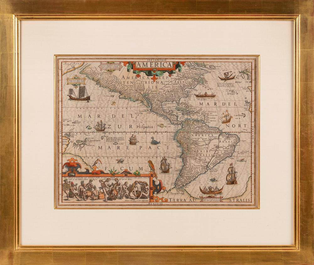 "JODOCUS HONDIUS (Belgium, 1563-1612), ""Septentrio America"", Hand-colored engraving, 15.25"" x 25"" sight. Framed 26.5"" x 31""."