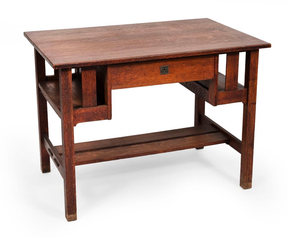 """STICKLEY ARTS & CRAFTS MISSION OAK DESK Early 20th Century Height 29.5"""". Width 40"""". Depth 26""""."""