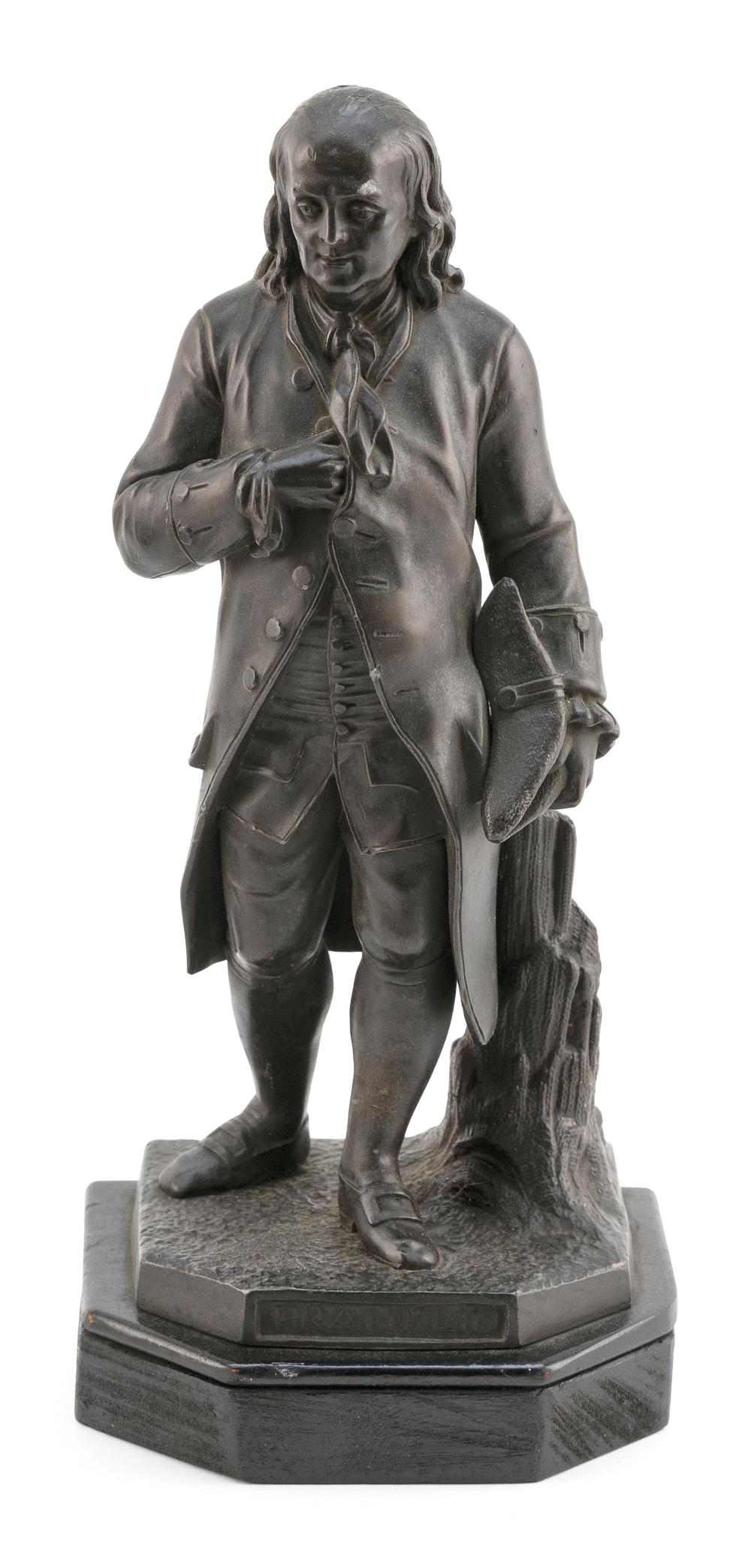"METAL SCULPTURE OF A STANDING BENJAMIN FRANKLIN 19th Century Height 10.75""."