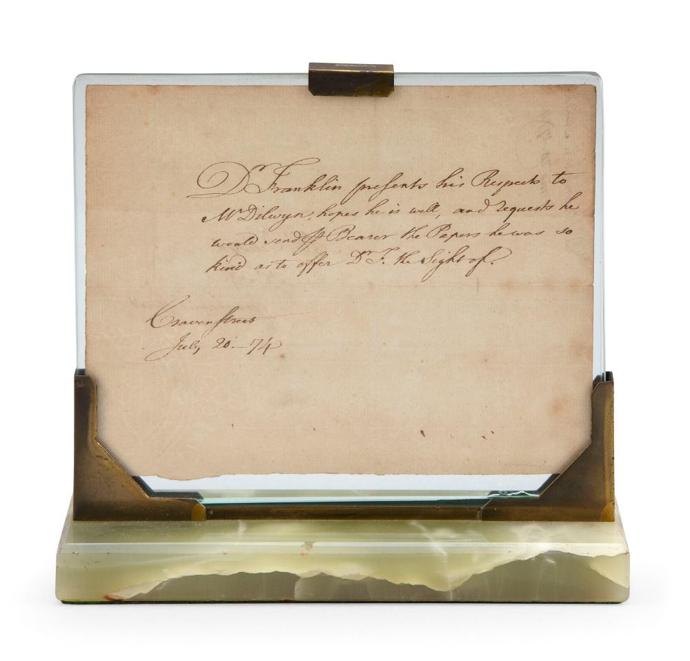 """LETTER BELIEVED TO HAVE BEEN WRITTEN BY BENJAMIN FRANKLIN Dated July 20, 1774 5.5"""" x 7.25"""". Framed 7.25"""" x 8""""."""