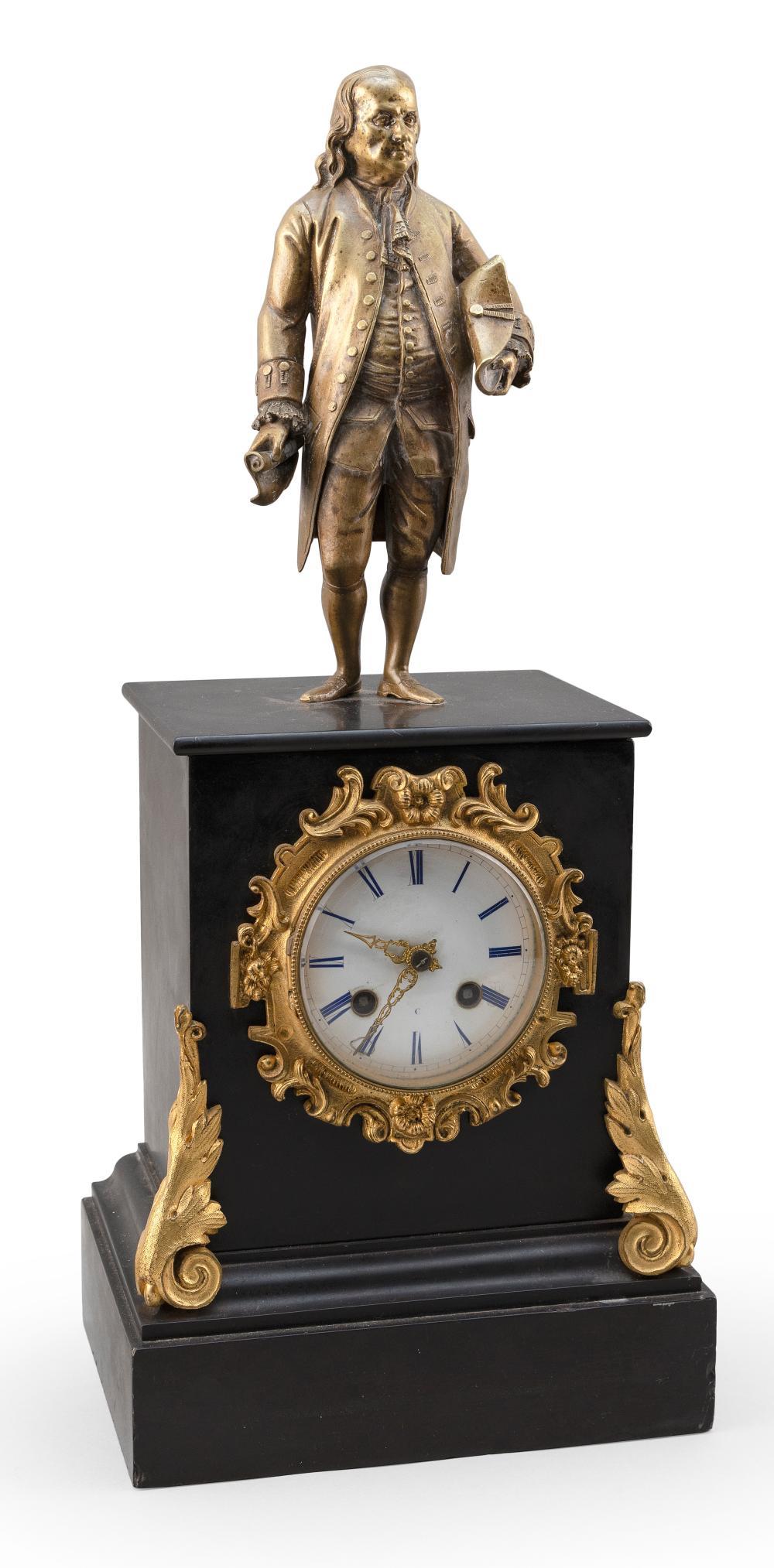 """BENJAMIN FRANKLIN MANTEL CLOCK 19th Century Height 18.5""""."""