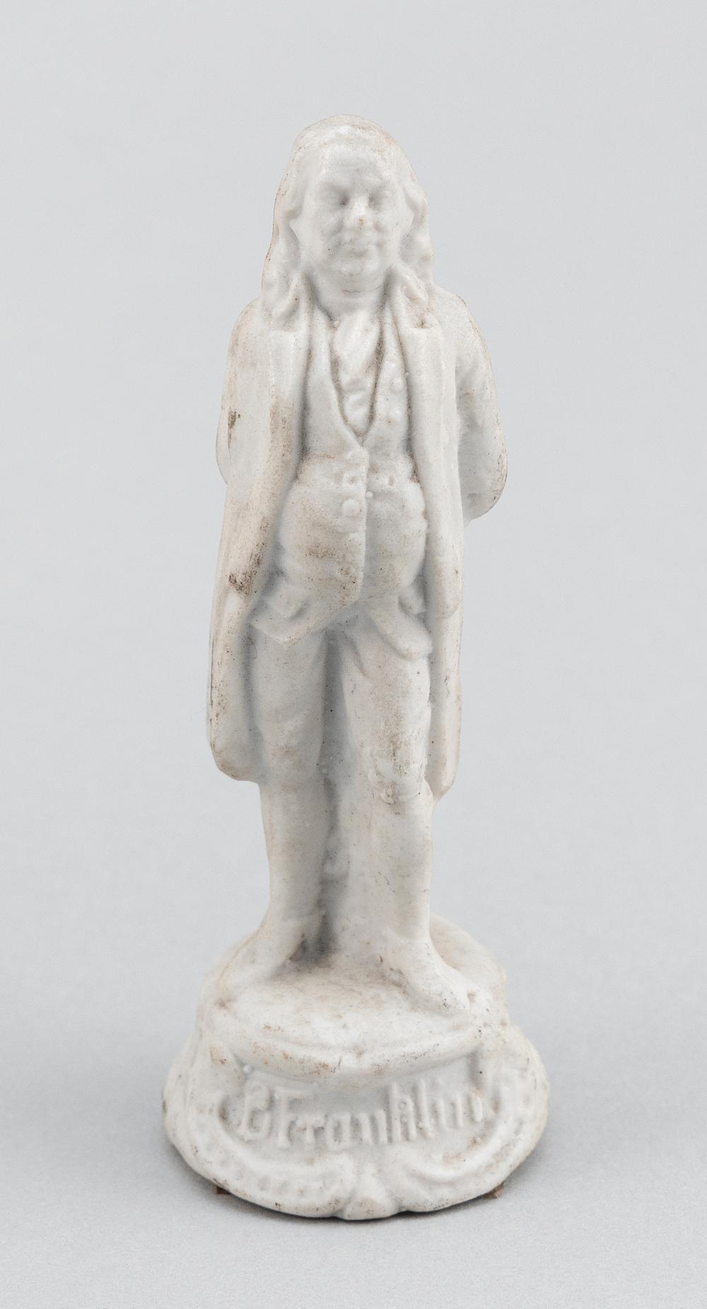 """BISQUE FIGURE OF BENJAMIN FRANKLIN Circa 1850 Height 3.75""""."""