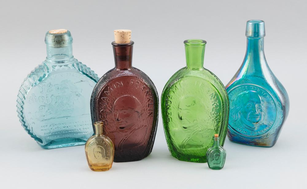 """SIX GLASS BOTTLES WITH BENJAMIN FRANKLIN DECORATION 20th Century Heights from 2"""" to 8.25""""."""