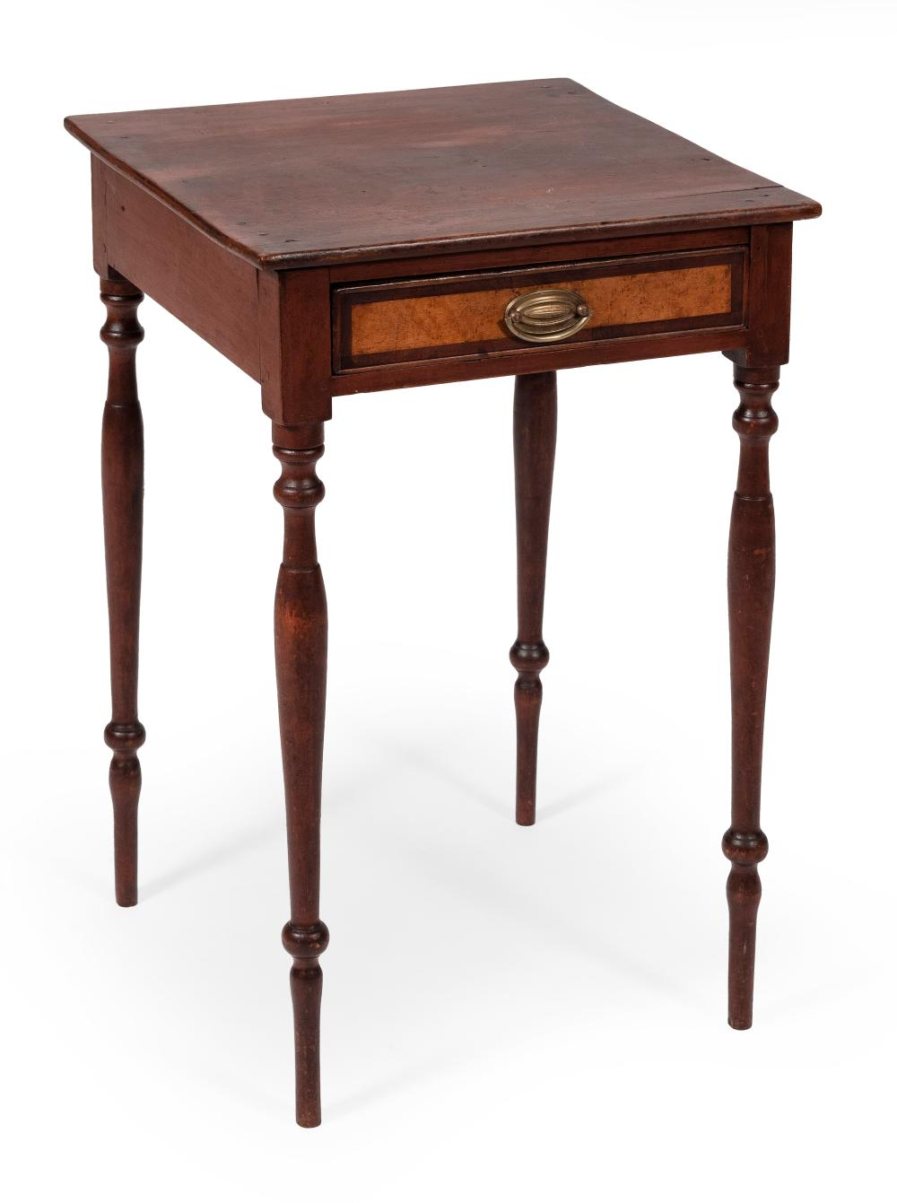 """SHERATON STAND WITH OLD RED FINISH New Hampshire or Southern Maine, Early 19th Century Height 28"""". Width 17.75"""". Depth 17""""."""