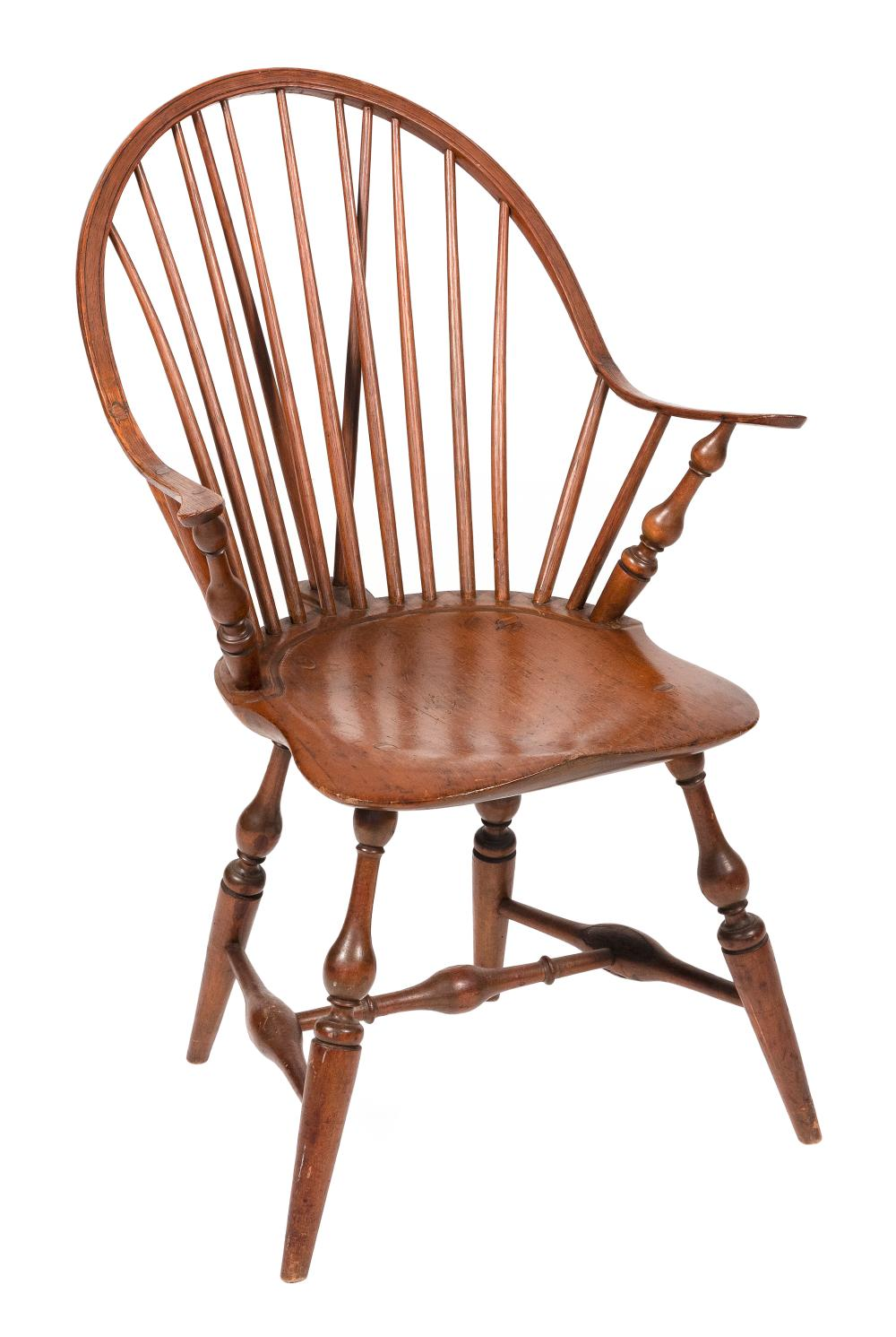 """CONTINUOUS ARM BRACE-BACK WINDSOR CHAIR New England, Late 18th Century Back height 34.75"""". Seat height 17""""."""