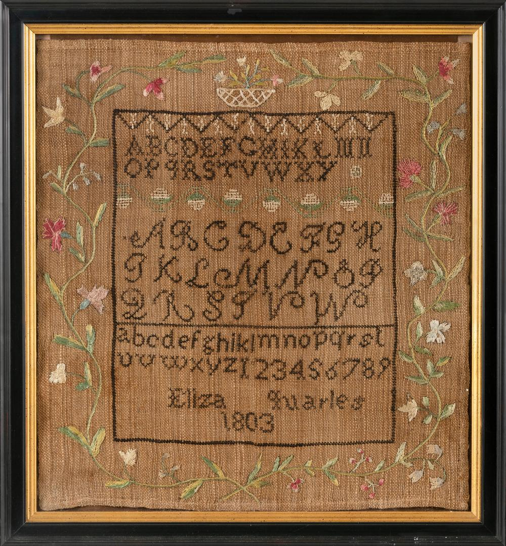 "MARYLAND NEEDLEWORK SAMPLER Dated 1803 15.25"" x 14"". Framed 18"" x 16.5""."
