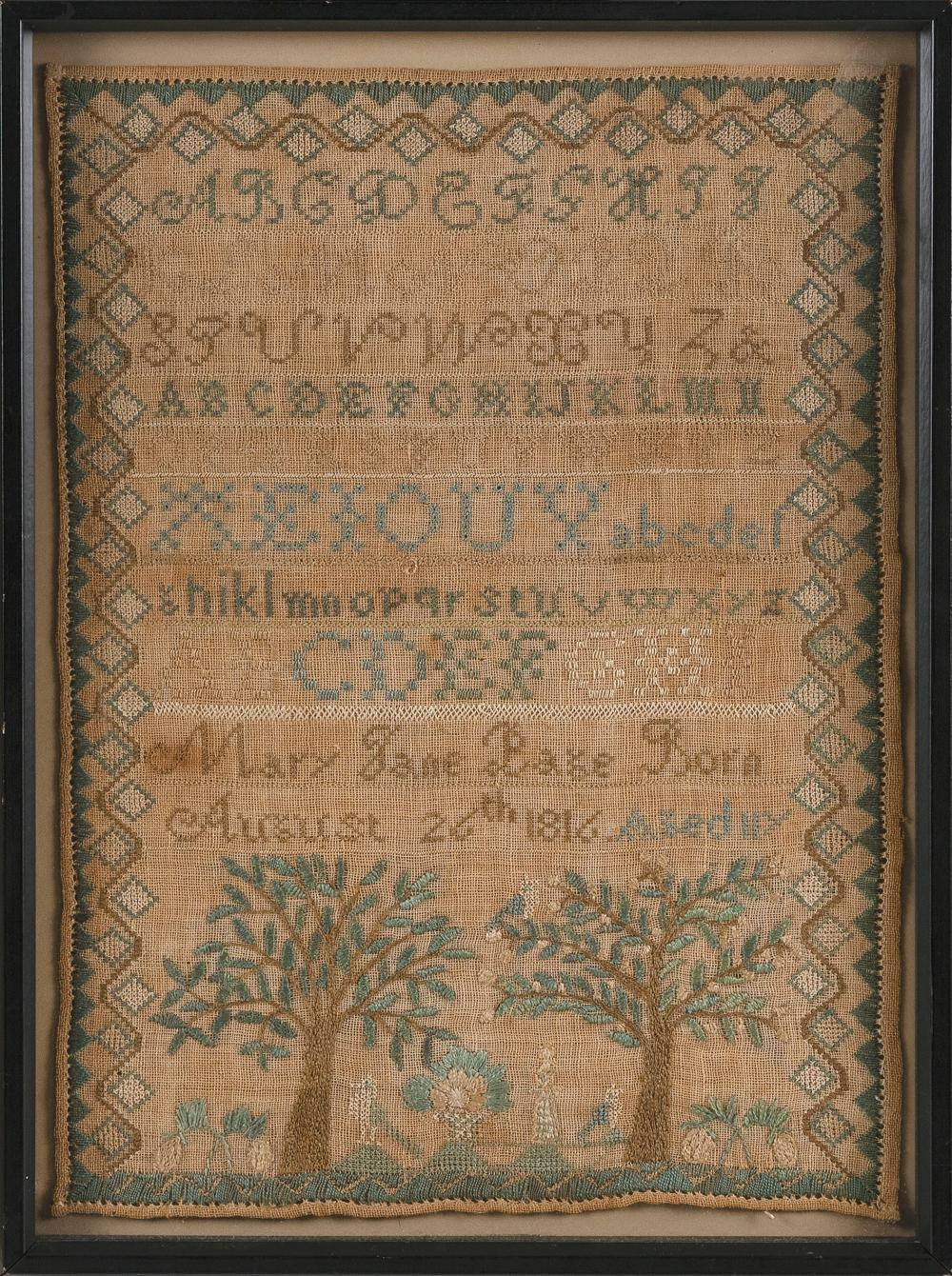 """NEW ENGLAND NEEDLEWORK SAMPLER Dated 1816 16"""" x 11.5"""". Framed 18.25"""" x 13.25""""."""