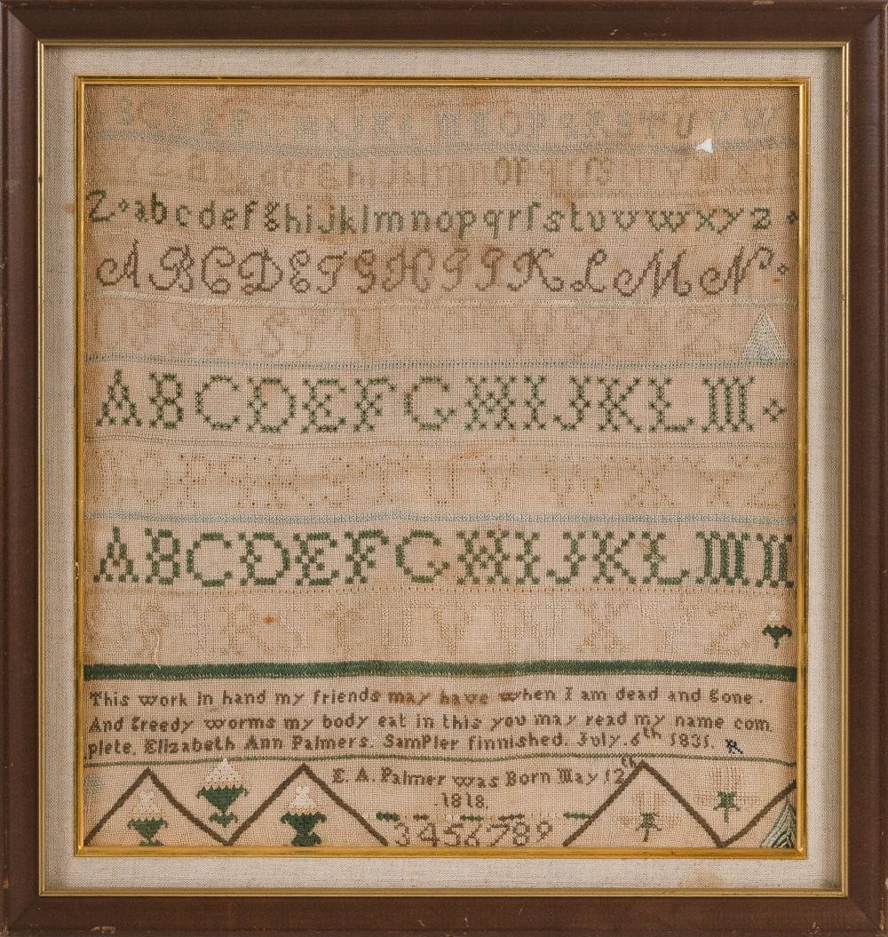"""NEEDLEWORK SAMPLER Dated 1835 16"""" x 15"""" sight. Framed 19.5"""" x 18.5""""."""