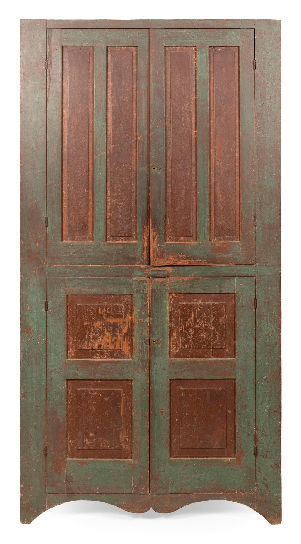 """ONE-PART CUPBOARD America, 19th Century Height approx. 85"""". Width 43.5"""". Depth 15.5""""."""