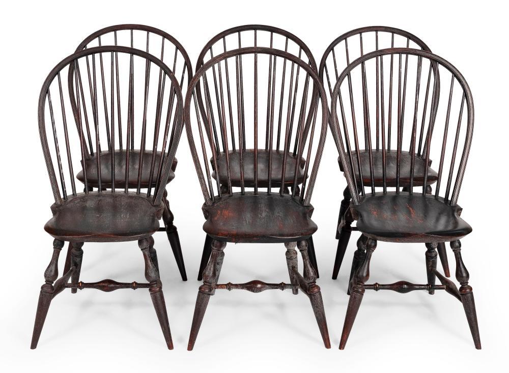 "SET OF SIX WARREN CHAIR WORKS BOWBACK WINDSOR CHAIRS Warren, Rhode Island, 20th Century Back heights 38.5"". Seat heights 17.5""."