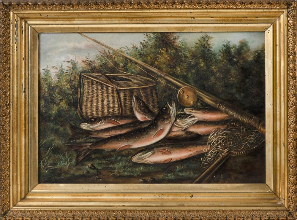 """PAINTING OF A BROOK TROUT AND FISHING TACKLE 19th Century Oil on canvas, 12"""" x 18"""". Framed 16"""" x 22""""."""