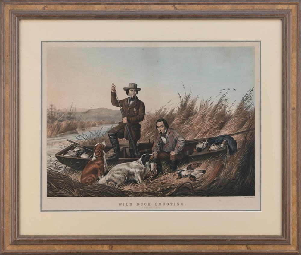 """CURRIER & IVES LARGE FOLIO HAND-COLORED LITHOGRAPH """"WILD DUCK SHOOTING, A GOOD DAY'S SPORT."""" Framed."""