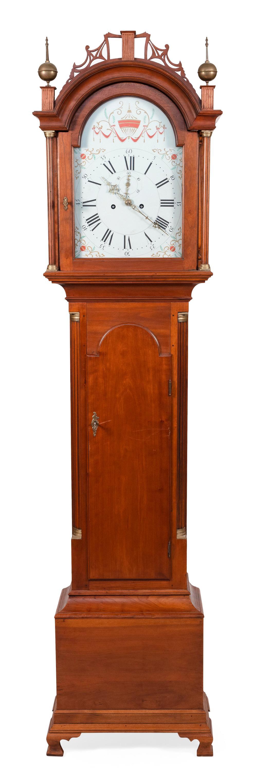 "DAVID LEFORT TALL-CASE CLOCK Massachusetts, 20th Century Height 81"". Width 18.5"". Depth 10.5""."