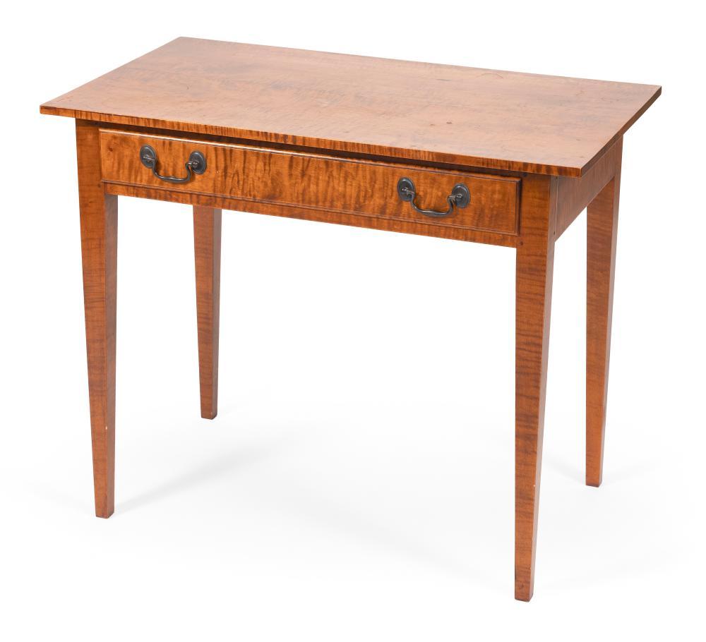 "DAVID LEFORT HEPPLEWHITE-STYLE ONE-DRAWER TABLE Massachusetts, 20th Century Height 29"". Width 35"". Depth 20.5""."