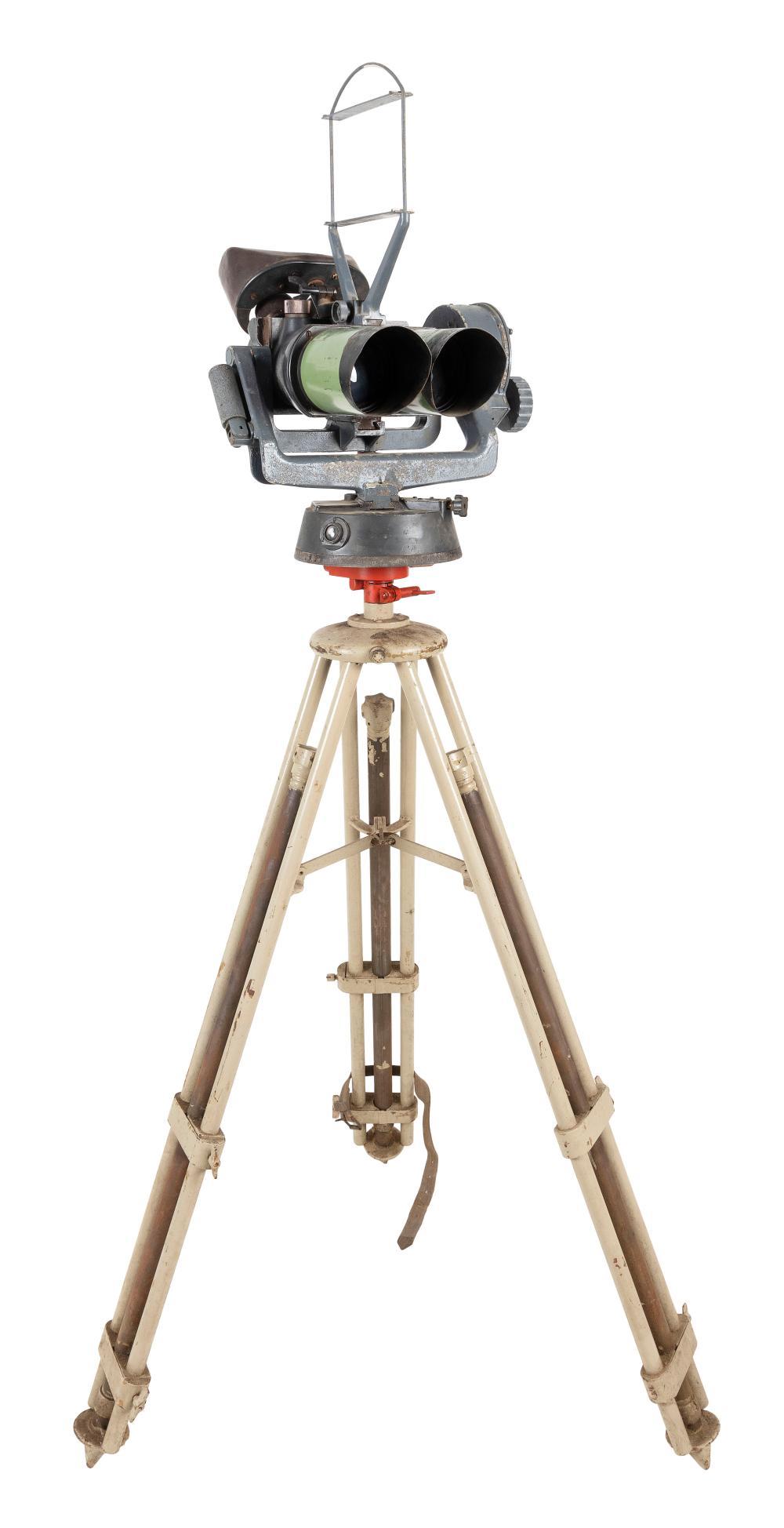 "GERMAN FLAK ARTILLERY BINOCULARS AND TRIPOD WITH CASE World War II-Era Tripod height 49"". Length of binoculars 11""."