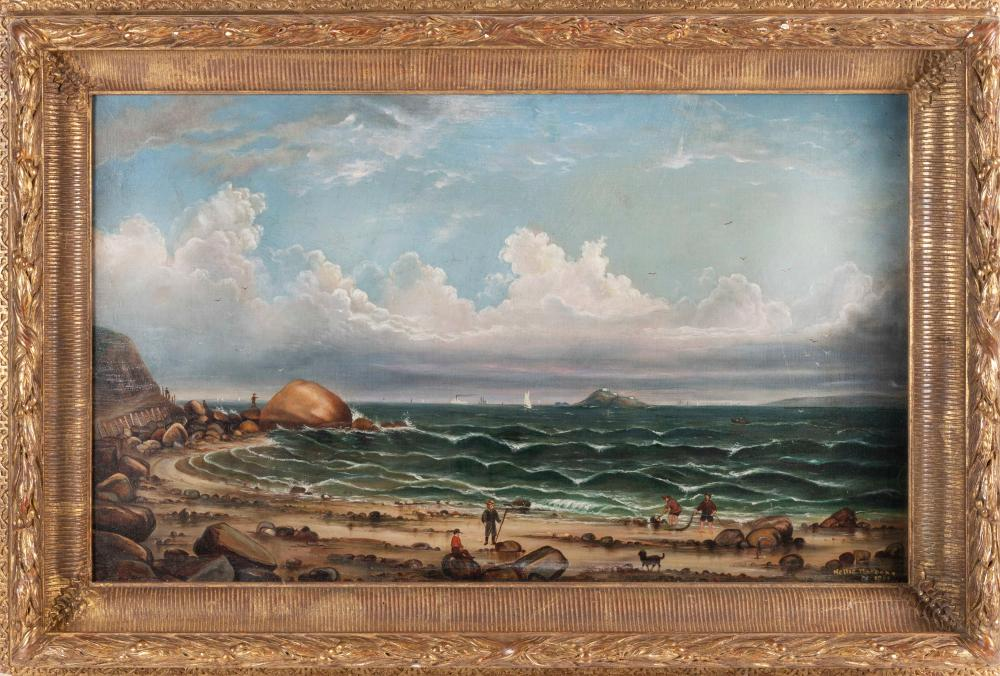 """AMERICAN SCHOOL (Early 20th Century,), Shore scene with Egg Rock Light (Nahant, Massachusetts) in the distance., Oil on canvas, 18"""" x 30"""". Framed 26"""" x 36""""."""
