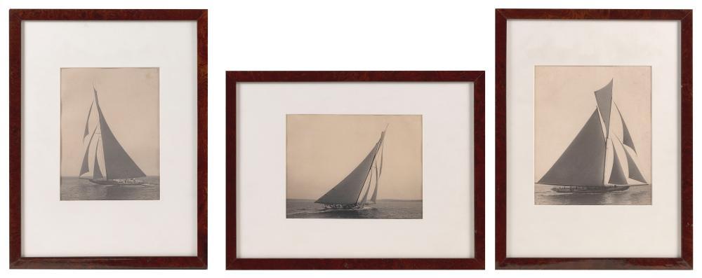 "THREE PLATINUM PRINT PHOTOGRAPHS DEPICTING SIR THOMAS LIPTON'S YACHTS ""SHAMROCK"" AND ""SHAMROCK II"" 1899/1901 Largest 9"" x 7.75"" sight. Each framed 17"" x 13""."