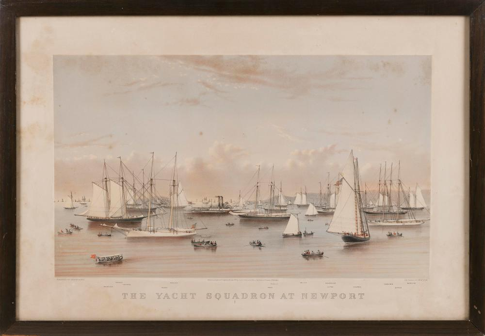 """CURRIER & IVES LARGE FOLIO COLORED LITHOGRAPH """"THE YACHT SQUADRON AT NEWPORT"""" 19th Century Framed 25"""" x 36.25""""."""