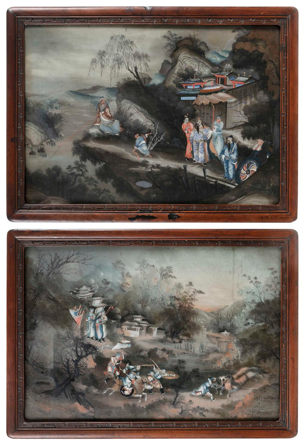 """PAIR OF CHINESE EXPORT REVERSE PAINTINGS ON GLASS 19th Century 16"""" x 23"""". Framed 19"""" x 26""""."""
