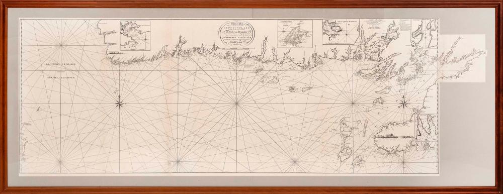"""CHART OF PART OF THE SOUTH COAST OF NEWFOUNDLAND, INCLUDING THE ISLANDS OF LANGLEY, ST. PETERS AND MIQUELON 18th Century Engraving on paper, three joined sheets 25.25"""" x 67.25"""" sight, with a 7.5"""" x 8"""" sheet extending For"""