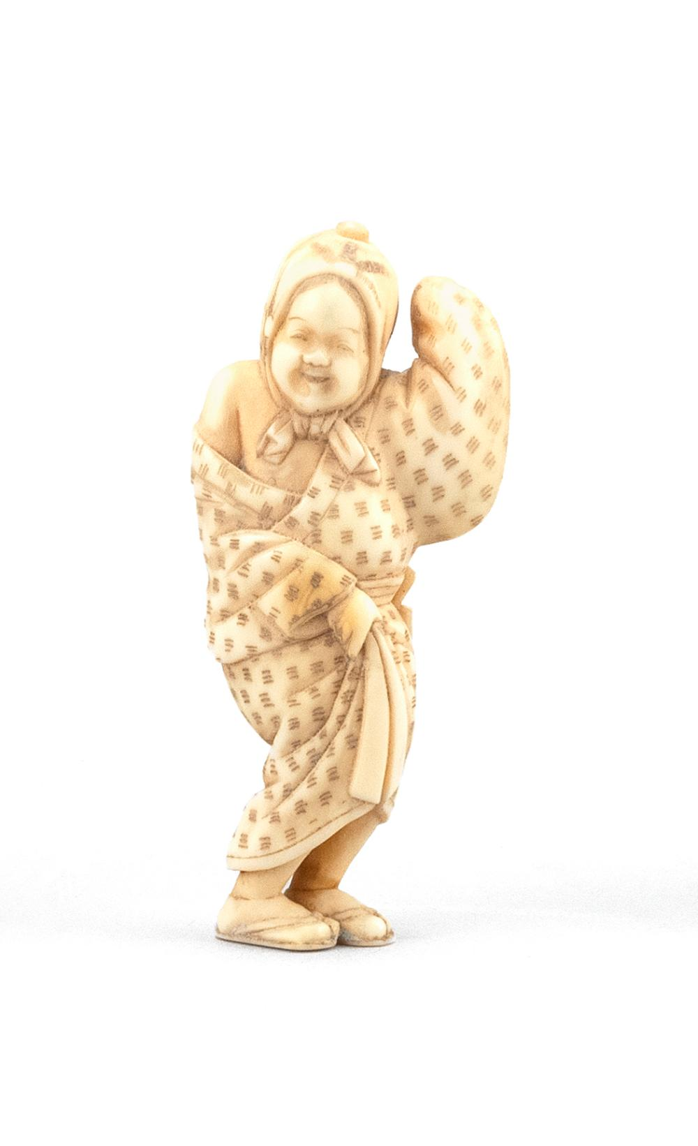 """JAPANESE IVORY NETSUKE By Tomochika (1800-1873). In the form of Okame in a dancing pose. Signed. Height 2.3"""". Not available for inte..."""