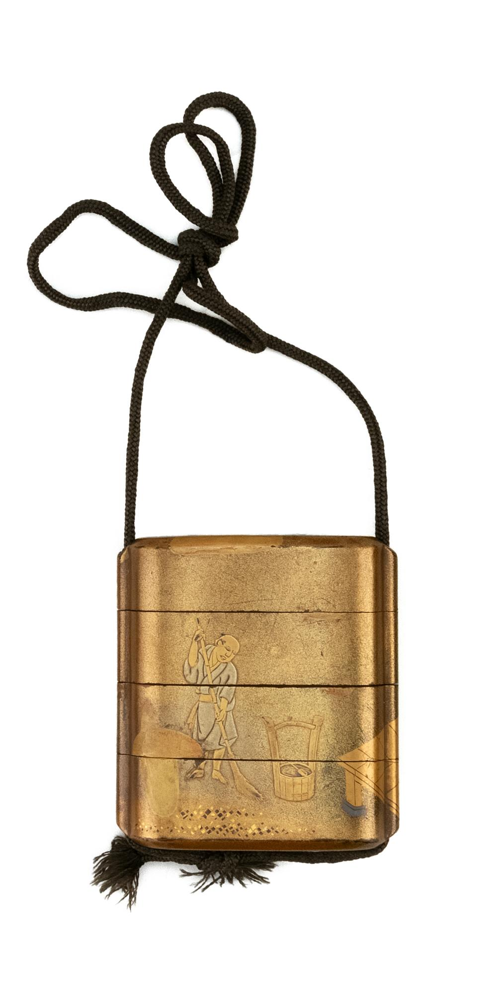 JAPANESE GOLD LACQUER THREE-CASE INRO Decorated with a scene of a cat resting on a porch while a man rakes leaves from the yard. Len...