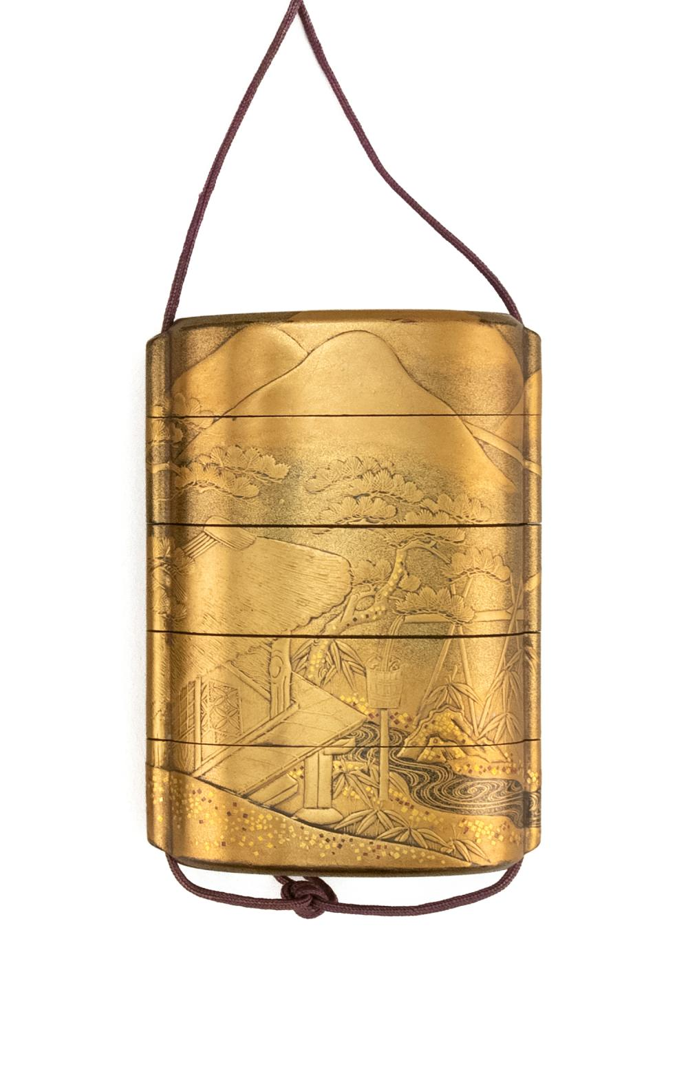 JAPANESE GILT LACQUER FIVE-CASE INRO Finely decorated with a cottage in mountain landscape, flowers and trees. Nashiji lacquer inter...