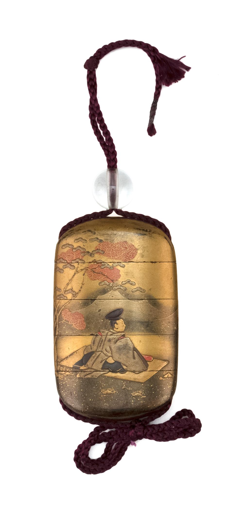 "JAPANESE GOLD LACQUER FOUR-CASE INRO Decorated with two noblemen in a fall landscape. Length 3.4"". Rock crystal ojime."