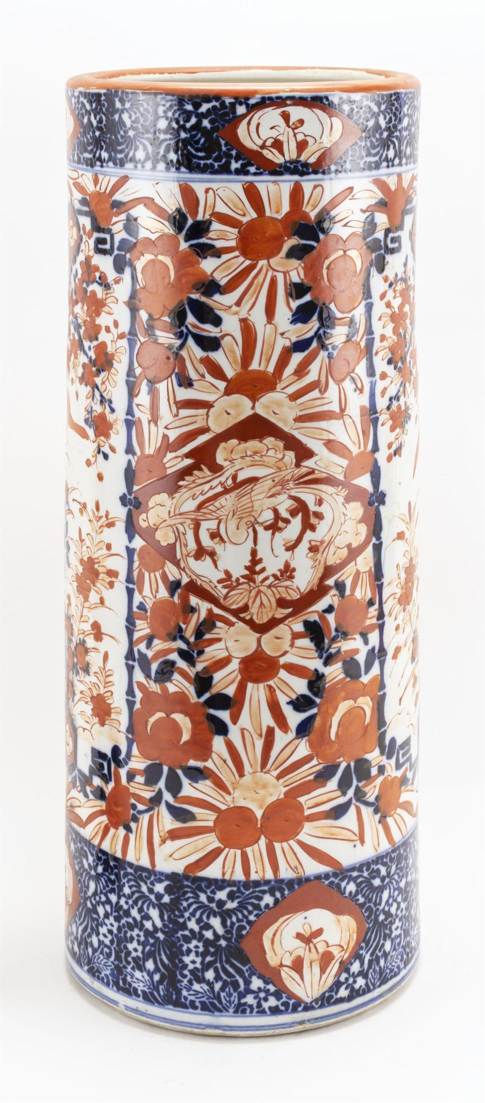 JAPANESE IMARI PORCELAIN UMBRELLA STAND Cylindrical, with a bird and floral design. Height 24.5